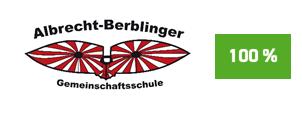 """Die Initiative Pro Recyclingpapier (IPR), das Umweltbundesamt und die Kompetenzstelle für nachhaltige Beschaffung würdigen die Albrecht-Berblinger-Gemeinschaftsschule auf der Plattform """"Grüner beschaffen"""" für die Verwendung von Papier mit dem Blauen Engel als """"Recyclingpapierfreundliche Schule""""."""