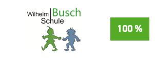 """Die Initiative Pro Recyclingpapier (IPR), das Umweltbundesamt und die Kompetenzstelle für nachhaltige Beschaffung würdigen die Wilhelm Busch Schule auf der Plattform """"Grüner beschaffen"""" für die Verwendung von Papier mit dem Blauen Engel als """"Recyclingpapierfreundliche Schule""""."""
